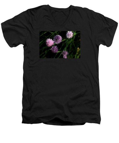 Purple Chives Men's V-Neck T-Shirt by Angela Rath