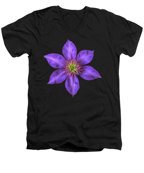 Men's V-Neck T-Shirt featuring the photograph Purple Clematis Flower With Soft Look Effect by Rose Santuci-Sofranko
