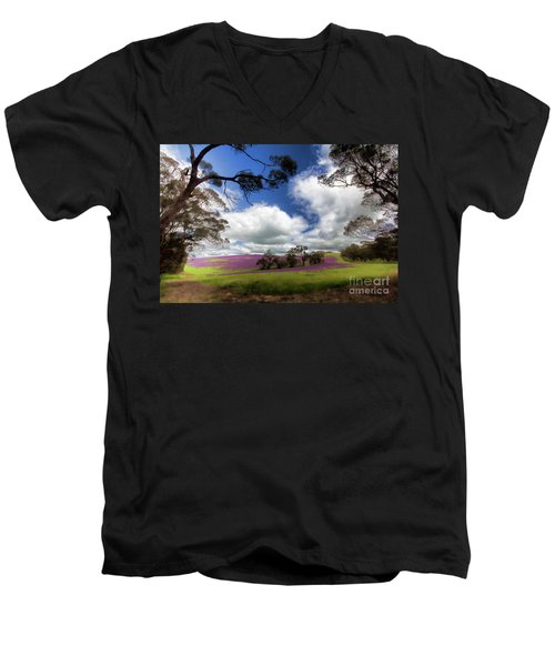 Men's V-Neck T-Shirt featuring the photograph Purple Fields by Douglas Barnard