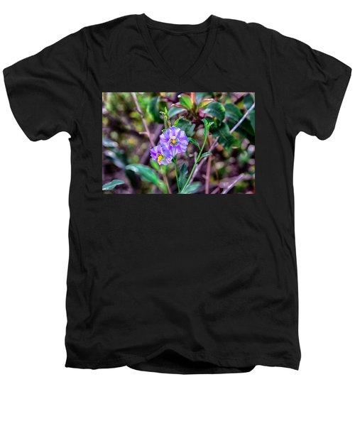 Purple Flower Family Men's V-Neck T-Shirt