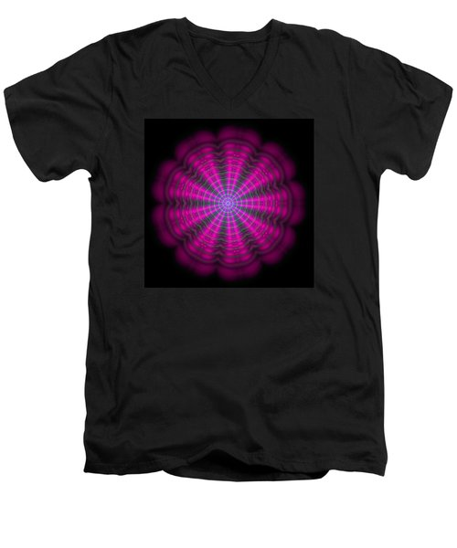 Men's V-Neck T-Shirt featuring the digital art Purple Lightmandala Ripples by Robert Thalmeier