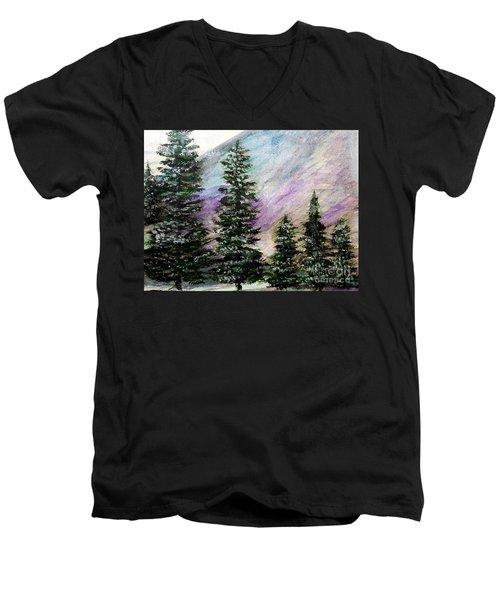 Purple Mountain Majesty Men's V-Neck T-Shirt by Scott D Van Osdol