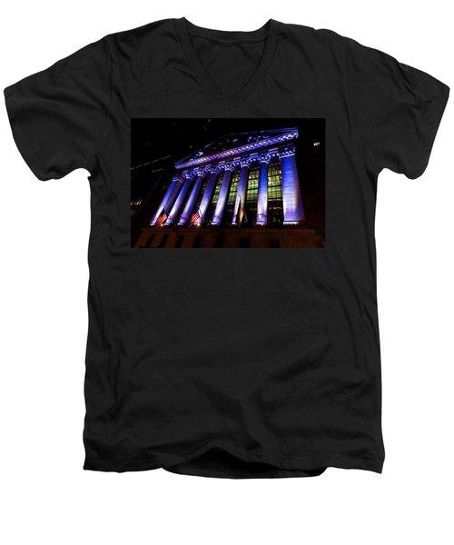 Purple New York Stock Exchange At Night - Impressions Of Manhattan Men's V-Neck T-Shirt