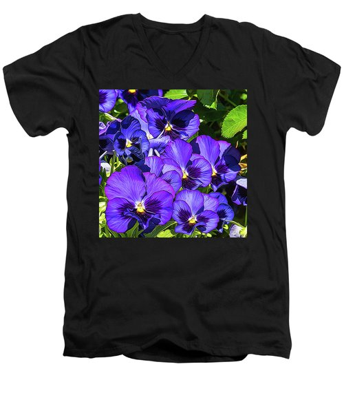 Purple Pansies In Morning Light Men's V-Neck T-Shirt