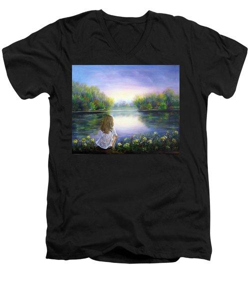 Purple Peace Men's V-Neck T-Shirt by Vesna Martinjak
