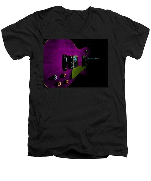 Purple Relic Les Paul II Hover Series Men's V-Neck T-Shirt