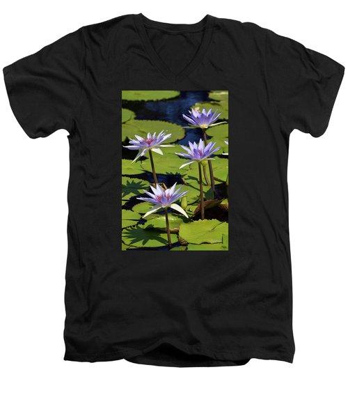 Purple Sparks Men's V-Neck T-Shirt by Deborah  Crew-Johnson