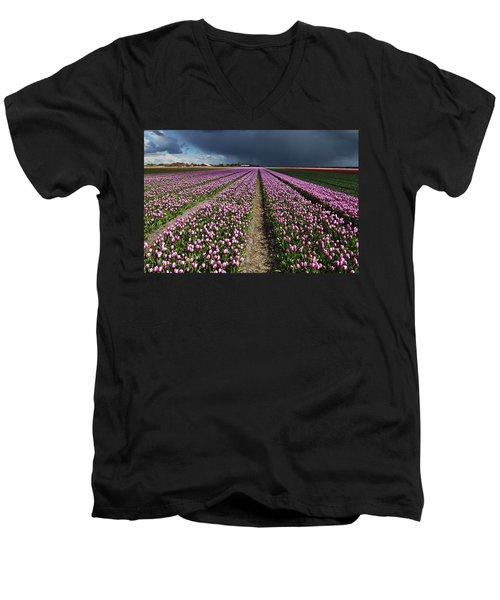 Purple Tulips Field Men's V-Neck T-Shirt