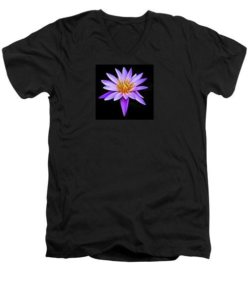 Purple Waterlily With Golden Heart Men's V-Neck T-Shirt by Venetia Featherstone-Witty