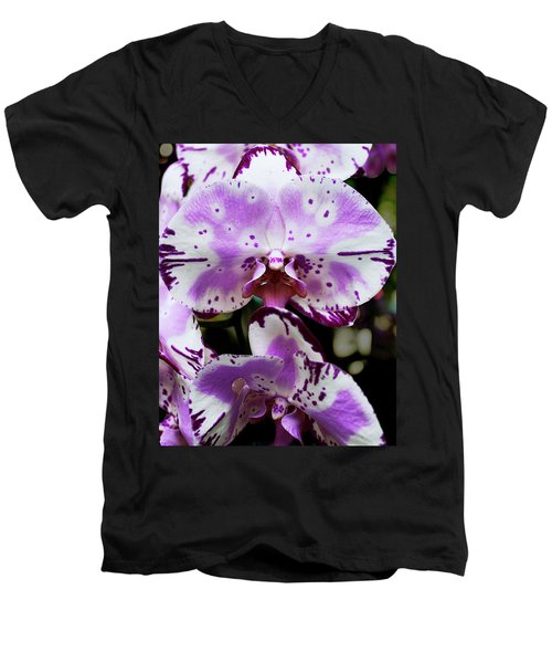 Purple And White Orchid Men's V-Neck T-Shirt
