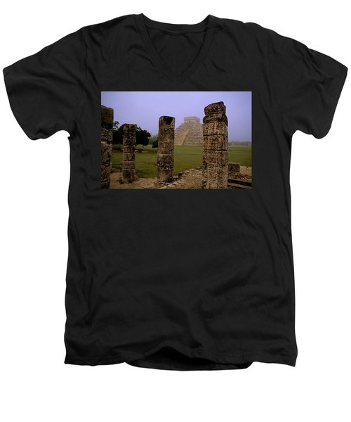 Pyramid At Chichen Itza Men's V-Neck T-Shirt