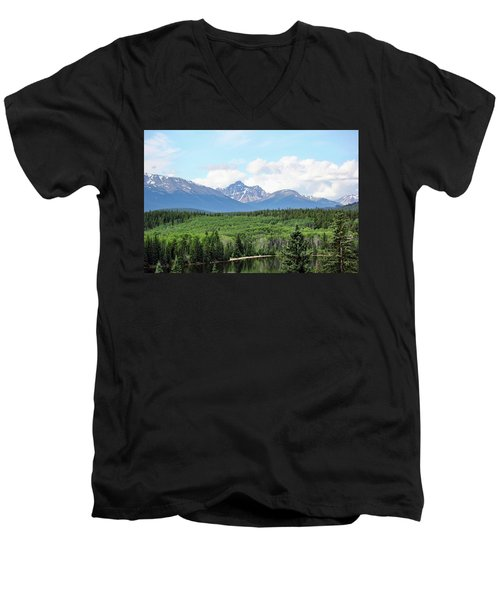 Men's V-Neck T-Shirt featuring the photograph Pyramid Island - Jasper Ab. by Ryan Crouse