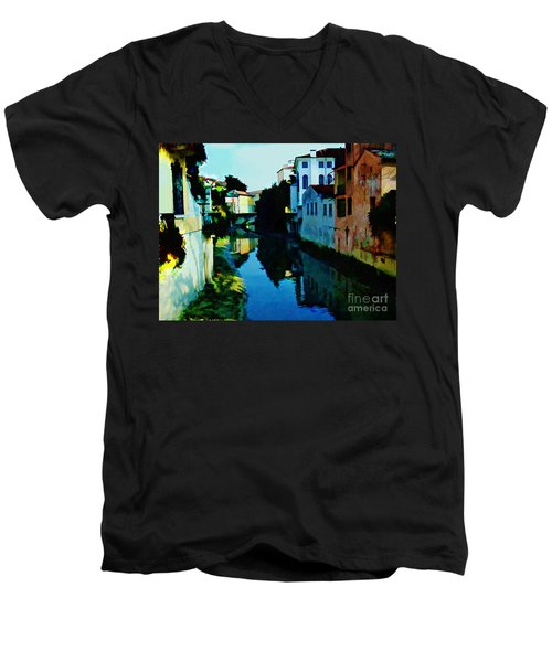 Men's V-Neck T-Shirt featuring the photograph Quaint On The Canal by Roberta Byram