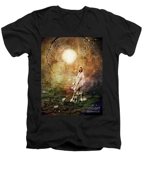 Quan Yin In A Lotus Pond Men's V-Neck T-Shirt by Laura Iverson