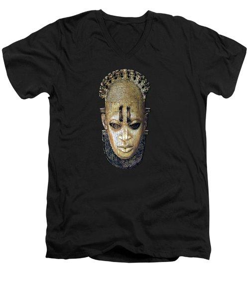 Queen Mother Idia - Ivory Hip Pendant Mask - Nigeria - Edo Peoples - Court Of Benin On Red Velvet Men's V-Neck T-Shirt