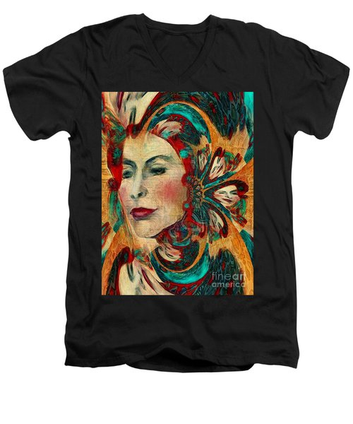 Men's V-Neck T-Shirt featuring the digital art Queenie by Alexis Rotella
