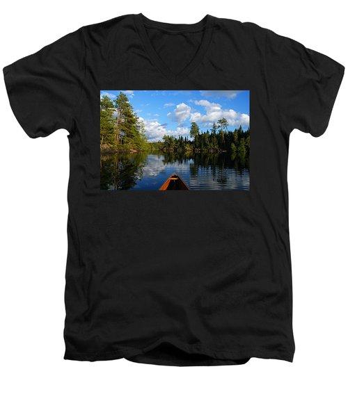 Quiet Paddle Men's V-Neck T-Shirt by Larry Ricker
