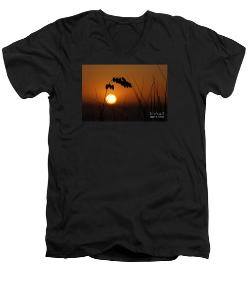 Men's V-Neck T-Shirt featuring the photograph Quiet Sunset by Inge Riis McDonald
