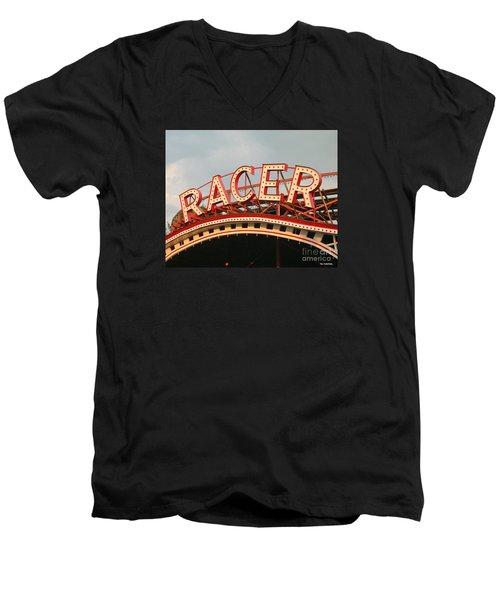 Racer Coaster Kennywood Park Men's V-Neck T-Shirt by Jim Zahniser