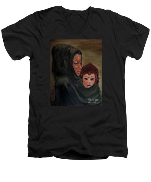Men's V-Neck T-Shirt featuring the painting Rachel And Joseph by Annemeet Hasidi- van der Leij