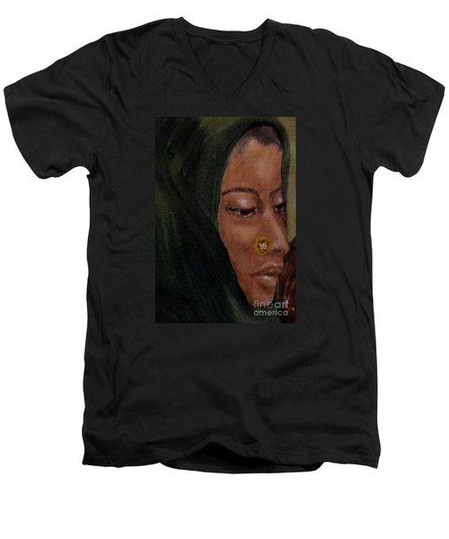 Men's V-Neck T-Shirt featuring the painting Rachel by Annemeet Hasidi- van der Leij