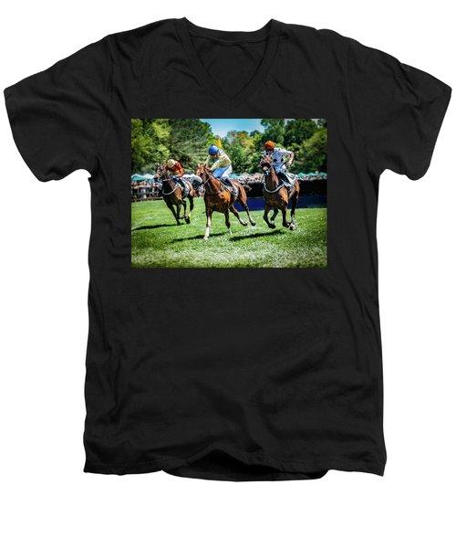 Racing Down The Stretch Men's V-Neck T-Shirt