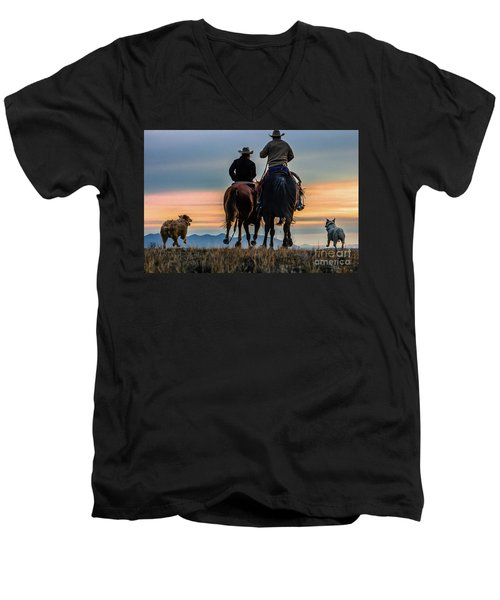 Racing To The Sun Wild West Photography Art By Kaylyn Franks Men's V-Neck T-Shirt