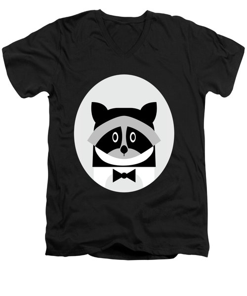 Racoon Bw Men's V-Neck T-Shirt