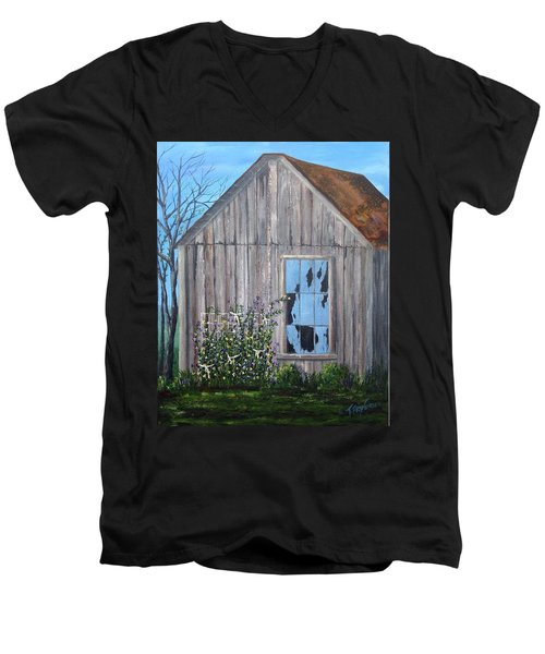 Rags, Sweet Peas And Time Men's V-Neck T-Shirt by T Fry-Green
