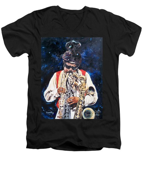 Rahsaan Roland Kirk- Jazz Men's V-Neck T-Shirt by Sigrid Tune