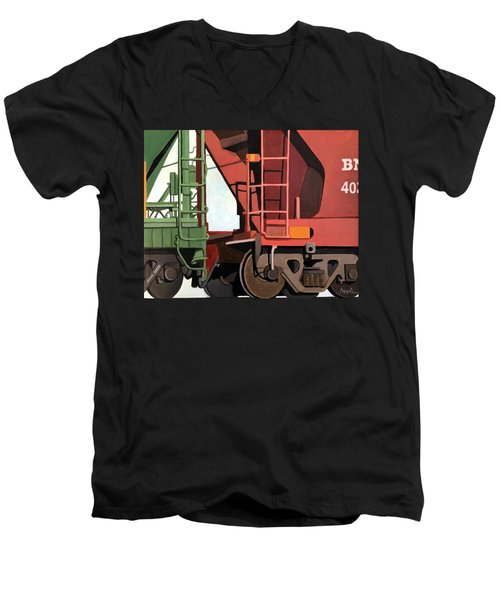 Railroad Cars - Realistic Train Oil Painting Men's V-Neck T-Shirt