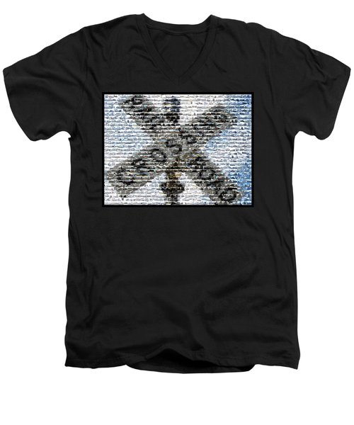 Men's V-Neck T-Shirt featuring the mixed media Railroad Crossing Trains Mosaic by Paul Van Scott