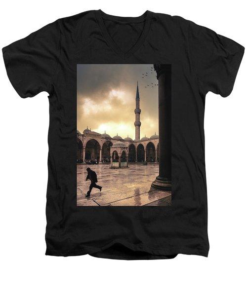 Rain At The Blue Mosque Men's V-Neck T-Shirt