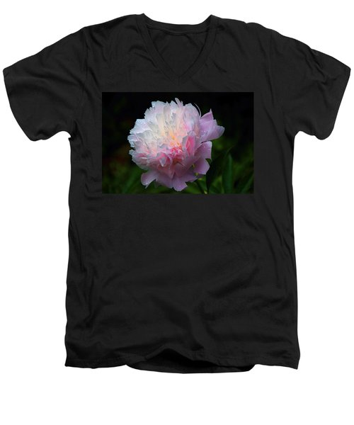 Men's V-Neck T-Shirt featuring the photograph Rain-kissed Peony by Byron Varvarigos