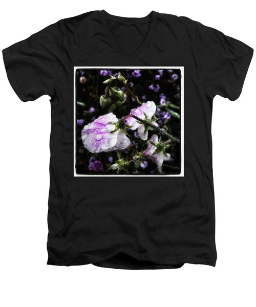 Men's V-Neck T-Shirt featuring the photograph Rain Kissed Petals. This Flower Art by Mr Photojimsf