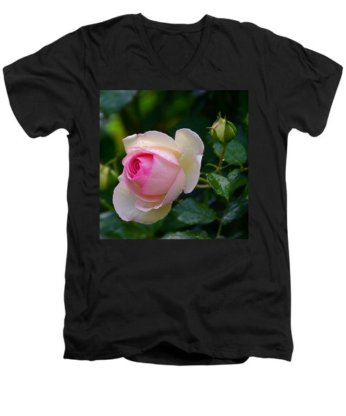 Men's V-Neck T-Shirt featuring the photograph Rain-kissed Rose by Byron Varvarigos