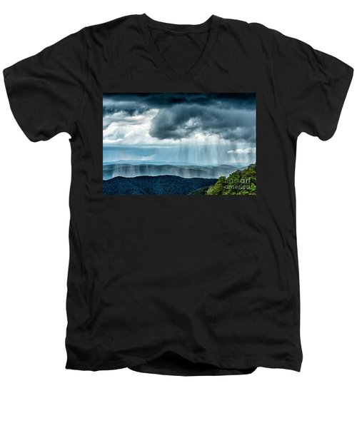 Men's V-Neck T-Shirt featuring the photograph Rain Shower Staunton Parkersburg Turnpike by Thomas R Fletcher