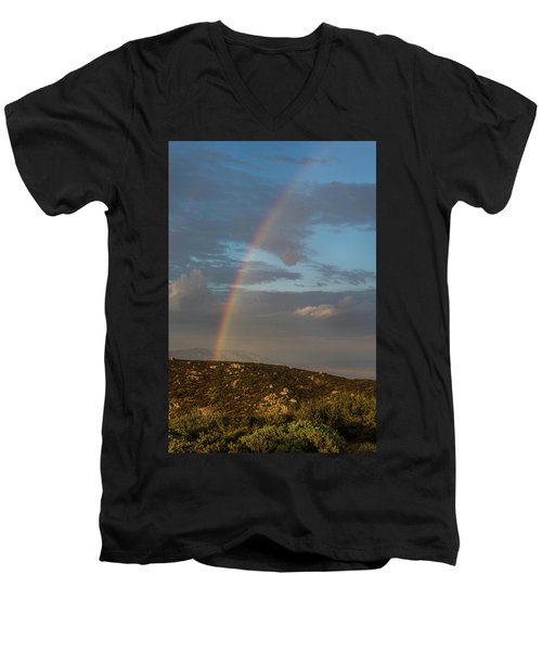 Rainbow Above Lagunas Men's V-Neck T-Shirt
