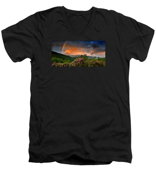 Rainbow And Rhododendrons On The Parkway Men's V-Neck T-Shirt