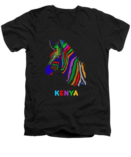 Men's V-Neck T-Shirt featuring the digital art Rainbow by Anthony Mwangi