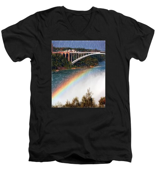 Rainbow Bridge - Niagara Falls Men's V-Neck T-Shirt by John Freidenberg
