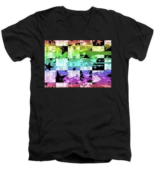 Rainbow Checker Skull Splatter Men's V-Neck T-Shirt