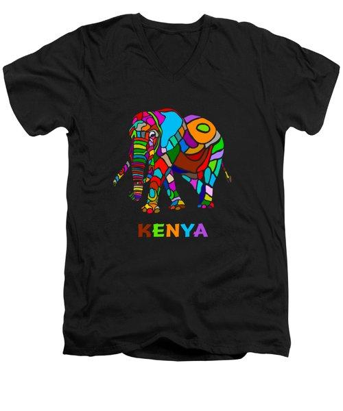 Men's V-Neck T-Shirt featuring the digital art Rainbow Elephant by Anthony Mwangi