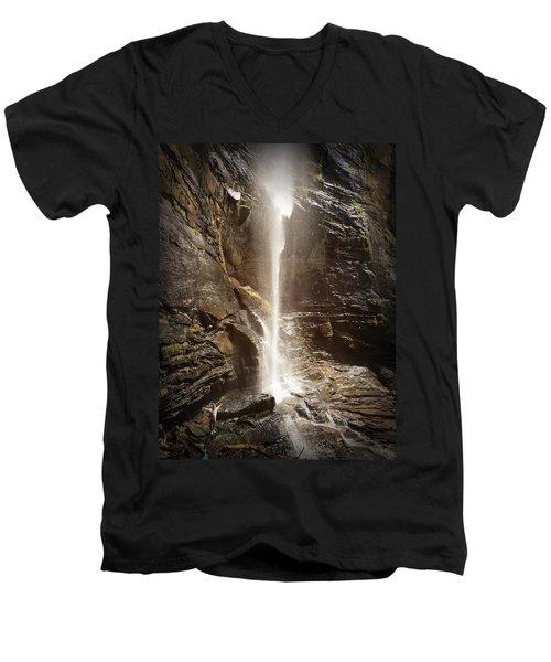 Rainbow Falls Of Jones Gap Men's V-Neck T-Shirt by Kelly Hazel
