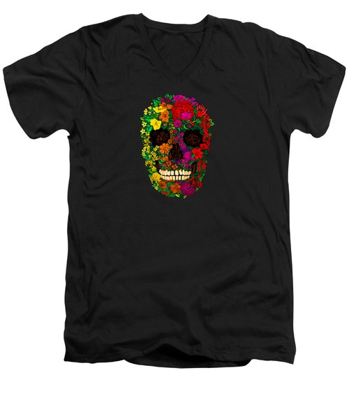 Rainbow Flowers Sugar Skull Men's V-Neck T-Shirt by Three Second