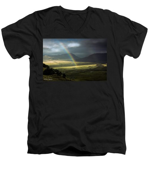 Rainbow In The Valley Men's V-Neck T-Shirt by Andrew Matwijec