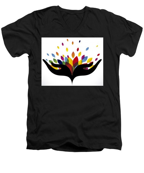 Rainbow Leaves Men's V-Neck T-Shirt by Now