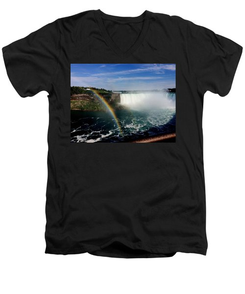 Rainbow Over Horseshoe Falls Men's V-Neck T-Shirt