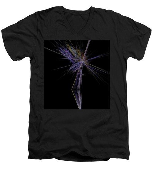 Men's V-Neck T-Shirt featuring the digital art Rainbow Palm by Sara  Raber