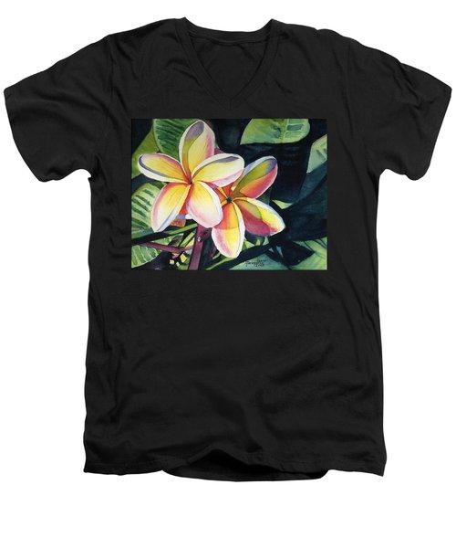 Rainbow Plumeria Men's V-Neck T-Shirt by Marionette Taboniar